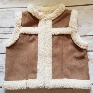 Old Navy Cow Hide Soft Brown Leather Vest 3-6 Mont